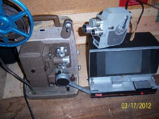 vintage 8mm video cam,projector, and editor