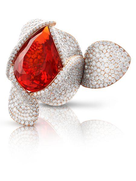 Pasquale Bruni - Anello in oro rosa con opale di fuoco, zaffiri arancioni e diamanti