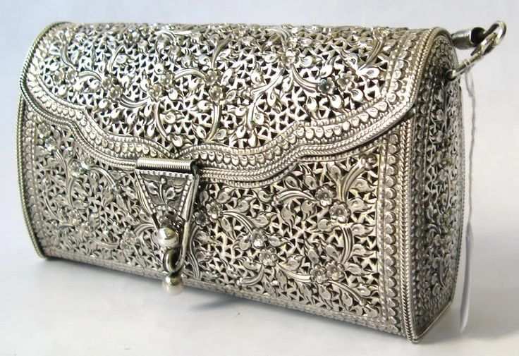 Auth 925 Sterling Silver Filigree Floral Handbag Purse | eBay