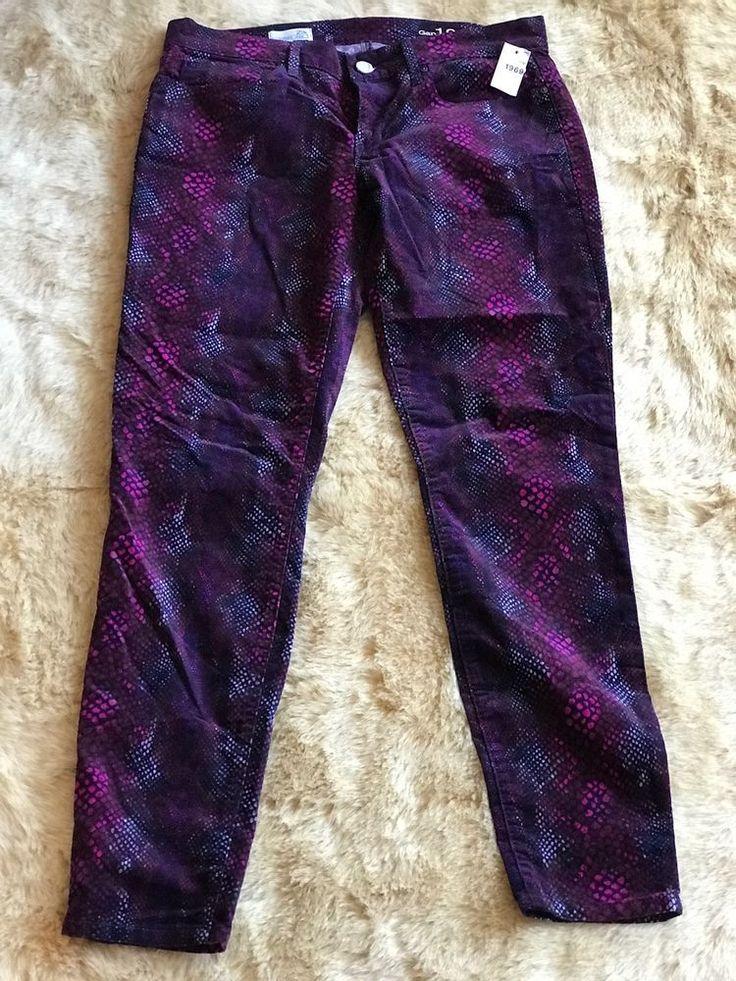 GAP 1969 Women's Purple Print Corduroy Legging Jeans Size 29 NWT NEW  #Gap #Leggings