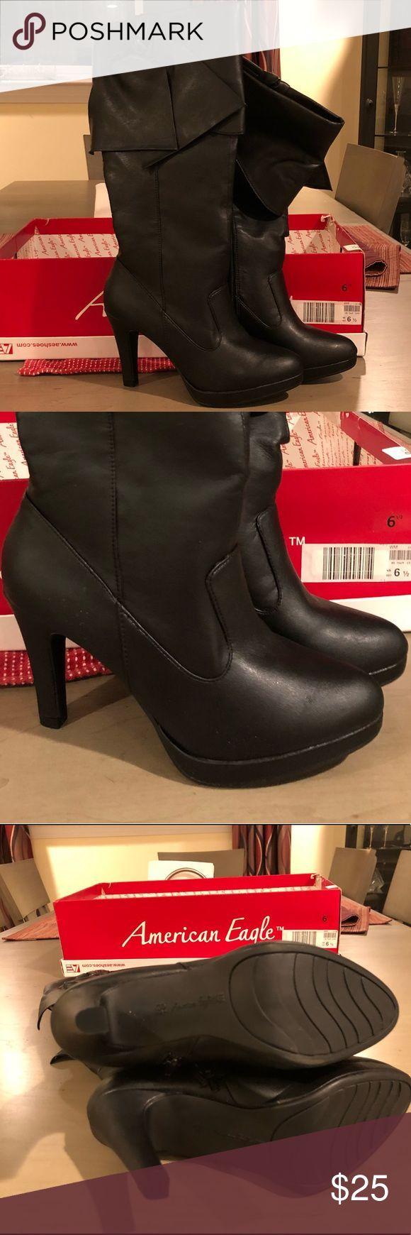 🆕NIB Zwarte hoge hak laarzen (American Eagle) Perfect voor date night, uit met …,  #America…