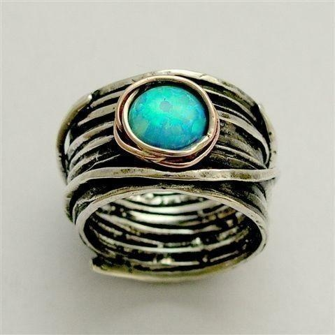 Sterling Silver Integrated Rose Gold Ring Inlaid Blue Opal. Cool ring!: Style, Jewelry, Turquoise Rings, Engagement Ring, Blue Opal, Rose Gold