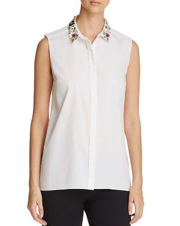 $Elie Tahari Carla Embellished Collar Blouse - 100% Exclusive - Bloomingdale's