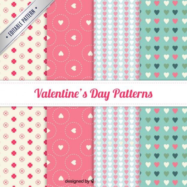 Adorável valentine padrão de um dia de coleção Vetor grátis