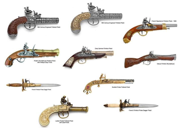 Crossed Flintlock Pistol Drawing