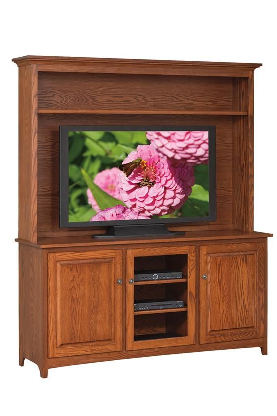 "Amish Shaker 66"" Hutch Entertainment Center  Country Collection  The movies, shows, and games that we share with our loved ones and our free time give us some of the finest everyday memories. Enjoy them with a solid wood american made stand holding it up."