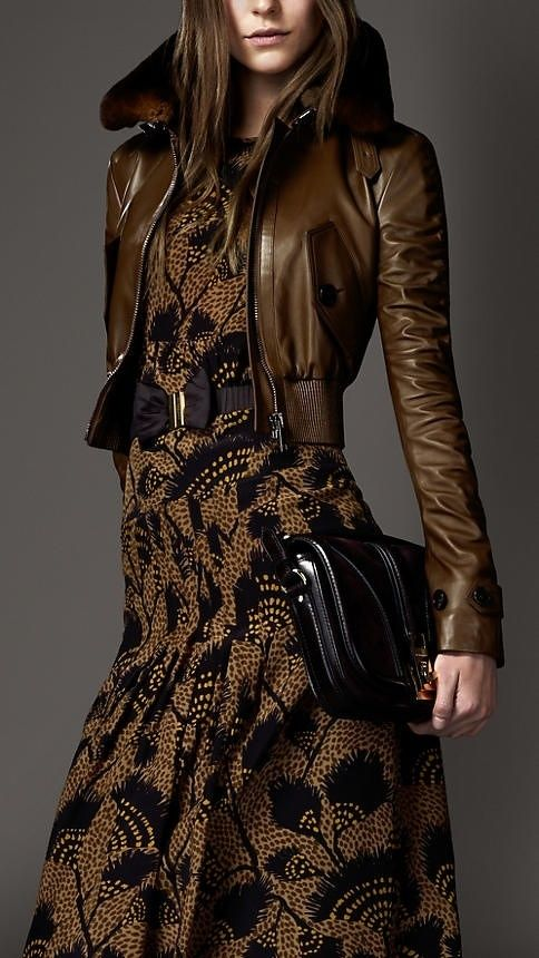 Here's a great way to pull off this short wasted, brownish/copper jacket!  Wow