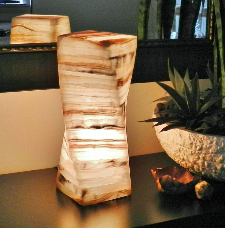 Onyx Table Lamp Vintage Stone Alabaster marble light nightstand bedside mood  #Contemporary