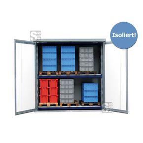 Regallager -STGI 3- mit Isolierung und 1 Fachebene, 3030 x 1725 x 3080 mm  #Anbauregal #Grundregal #Lagerregal #Lastenregal #Materialcontainer #Lagerraum #Isoliercontainer