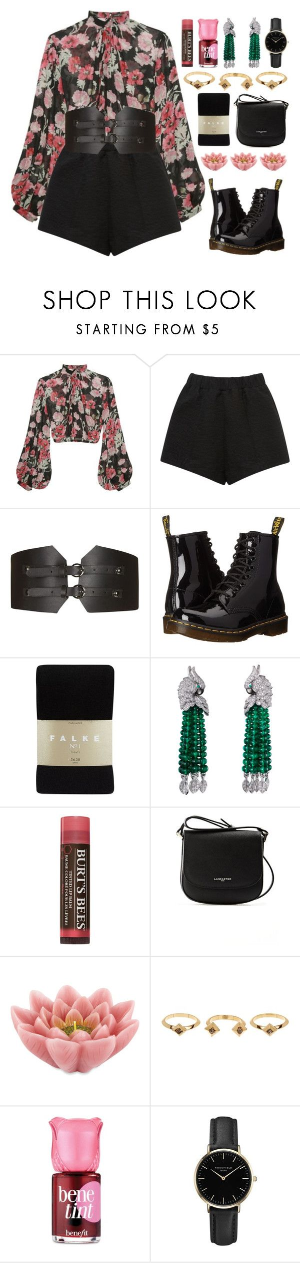 """""""My love is on fire~ Now burn baby burn~"""" by vip-beauty ❤ liked on Polyvore featuring Jill Stuart, E L L E R Y, Topshop, Dr. Martens, Falke, Burt's Bees, Lancaster, Pink Lotus, House of Harlow 1960 and Benefit"""