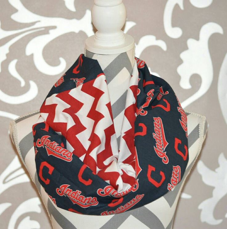 """Cleveland Indians Infinity Scarf MLB Team Fabric. The perfect accessory to show your team spirit on game day. Hoop length is about 38"""" inches long (2 yards in circumference) by about 8"""" inches wide. W"""