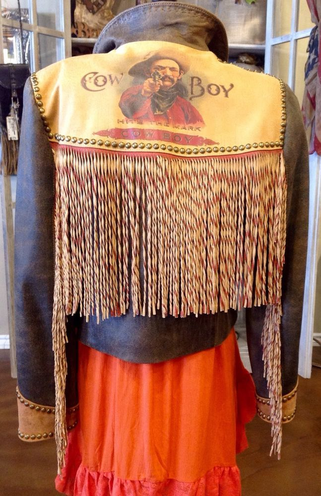 DOUBLE D RANCH DISTRESSED VINTAGE BROWN LEATHER JACKET W TWISTED FRINGE   L  #DoubleDRanchwear