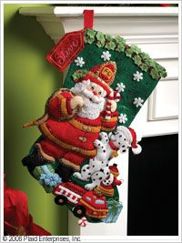 Bucilla ® Seasonal - Felt - Stocking Kits - Fireman Santa. #bucilla #stockings #christmas #plaidcrafts