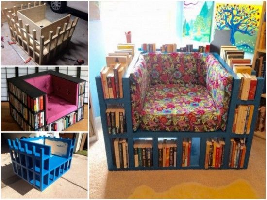Unique DIY Bookshelf Chair Ideas On Pinterest DIY Projects - Bookchair combined with bookshelf