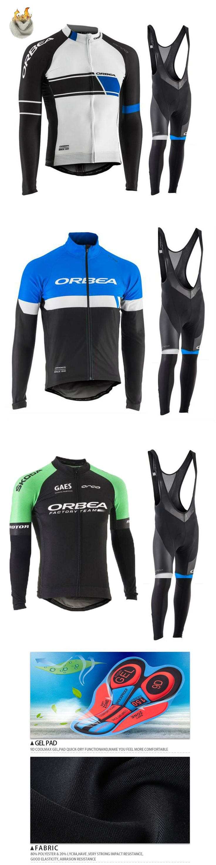 ORBEA Team 2017 Quick Dry Cycling Jersey Set Winter Thermal Fleece Outdoor Sport Coat Clothing ropa ciclismo