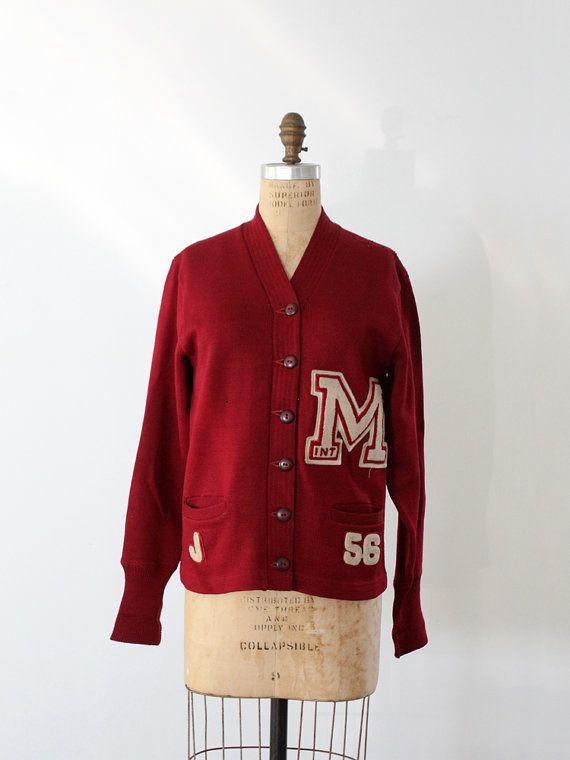 1950s Varsity Sweater // Vintage School Cardigan by 86Vintage86, $185.00