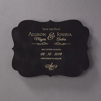 Posh Plush - Save the Date - Black 40% Off http://mediaplus.carlsoncraft.com/Wedding/Save-the-Dates/3284-RT35678SD-Posh-Plush--Save-the-Date--Black.pro RT35678SD Black velvet. A unique crest shape. Foil printing. The perfect wedding save the date to introduce your posh celebration.