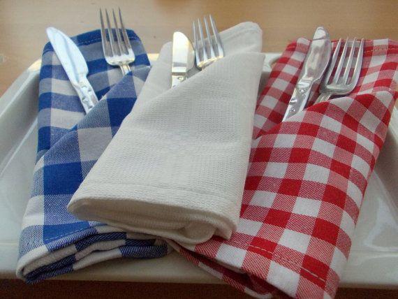 FREE SHIPPING- Set of 6, Cloth Napkins, Gingham Cloth Napkins, Chequered Cloth Napkins,Hotel Cloth Napkins,Dinner Cloth Napkins, White Cloth