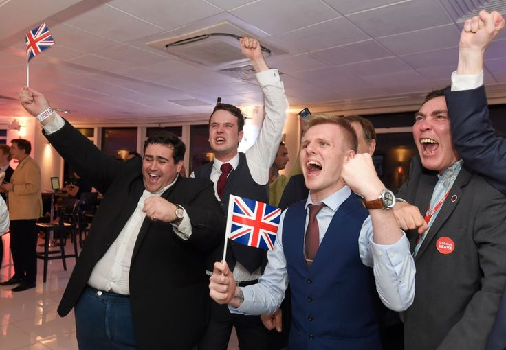 Brexit supporters cheer results at a Leave.eu party after polling stations closed in the Referendum on the European Union in London, England, on June 23.