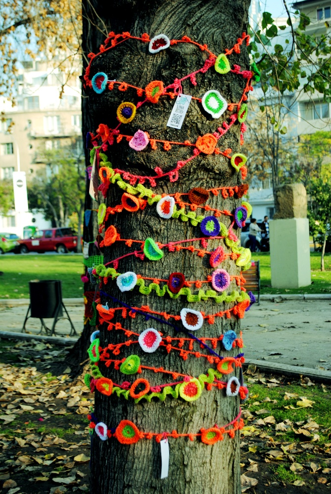 Yarn bombing can even be as dainty and pretty as this display.