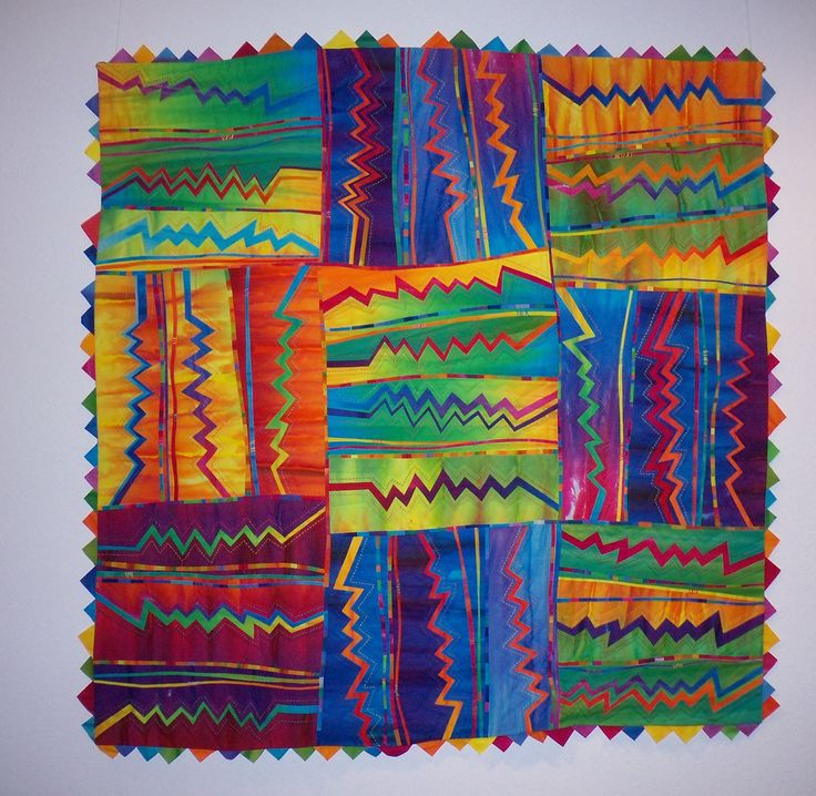 Zig Zag #5 | Hand dyed fabric, fused, hand and machine quilt… | Flickr