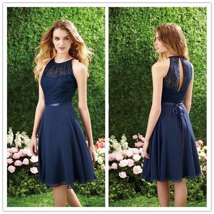 navy blue lace bridesmaid dresses , bridesmaid dresses short , hollow back…