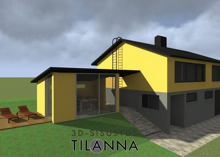 3D-suunnittelu/ Peruskorjatun talon katetun terassin suunnitelma ja 3D-mallinnus, terrace plan / 3D-sisustus Tilanna, sisustussuunnittelija Jyväskylä