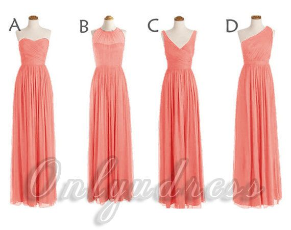 Hey, I found this really awesome Etsy listing at https://www.etsy.com/listing/195619184/coral-bridesmaid-dresses-long-coral