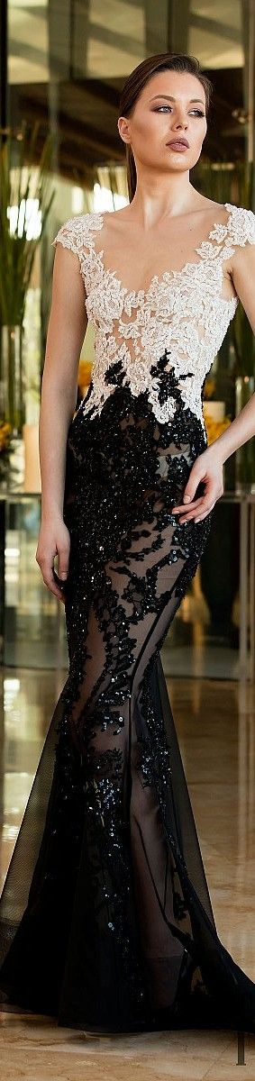 Toufic Hatab couture ~ Embellished White + Black Gown  2016 spring summer