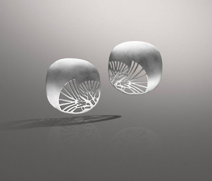 Azza Fahmy - Art Deco Lotus Earrings | Sterling Silver