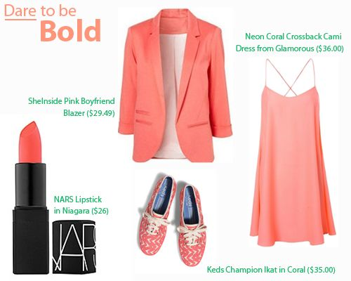 The IT List Coral - Dare to Be Bold - I like this blazer for a summer professional look on casual fridays OR dining al fresco for customer meetings in the summer