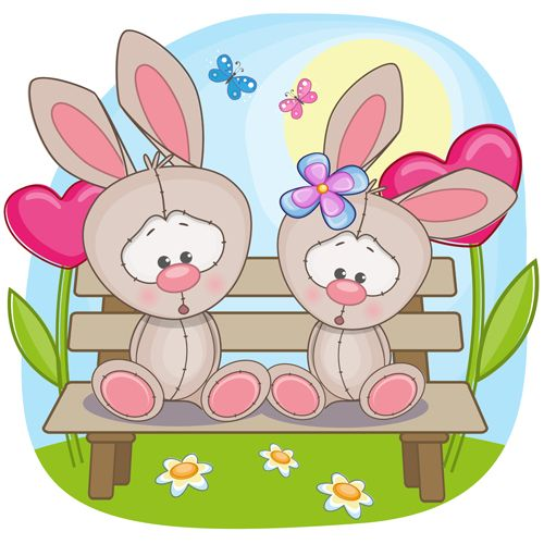 Lovers lovely animals vector set 05