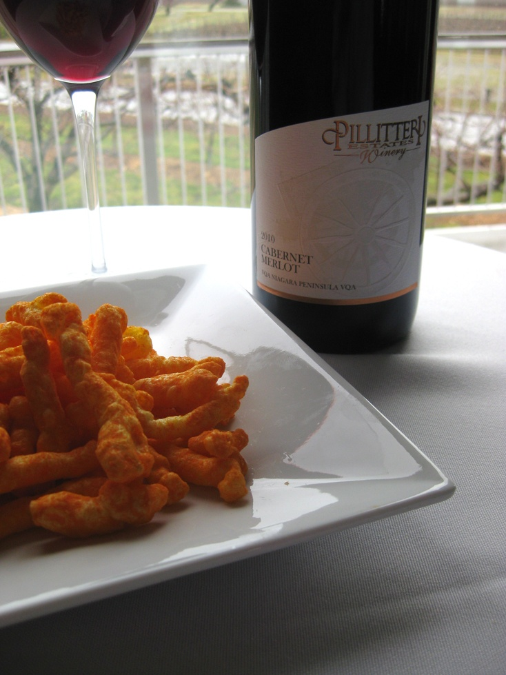 Pillitteri Odd Couple Wine and Food pairing: 2010 Cabernet Merlot & Crunchy Cheetos (Or Cheezies).