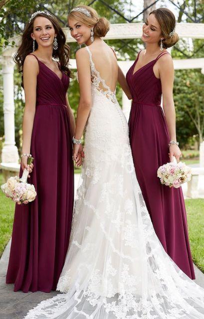 20 Stunning Marsala Bridesmaid Dress Ideas For Fall Weddings                                                                                                                                                     More