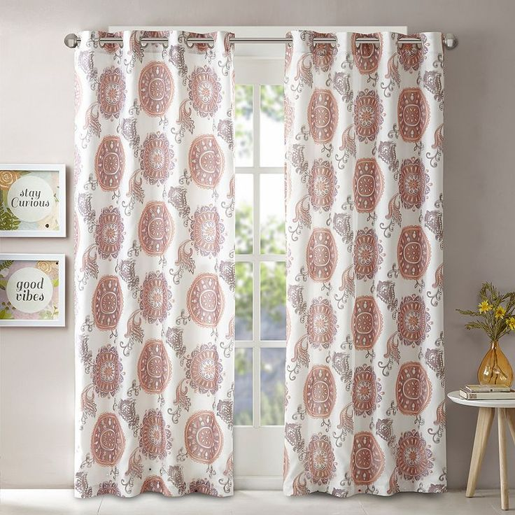 Intelligent Design Elise Printed Curtain, Purple