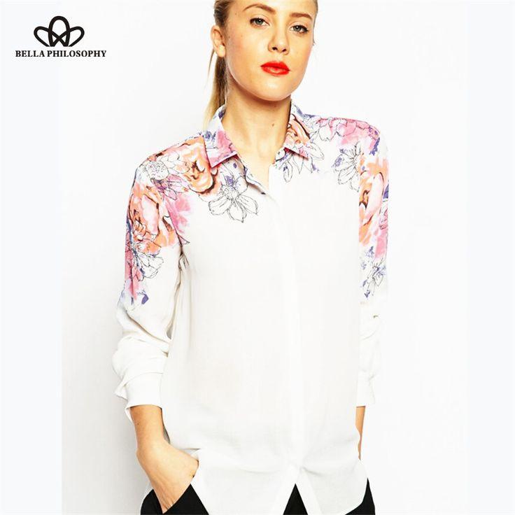 spring summer new beautiful shoulder pink blue flower print long sleeve white chiffon blouse shirt