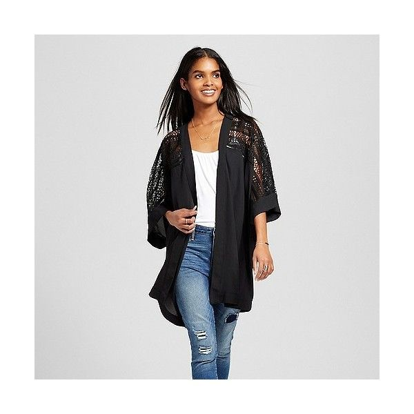 Women's Kimono Jacket with Crochet Lace Trim Black ($30) ❤ liked on Polyvore featuring outerwear, jackets, black, crochet kimono, kimono jacket, mossimo jacket, crochet jacket and mossimo