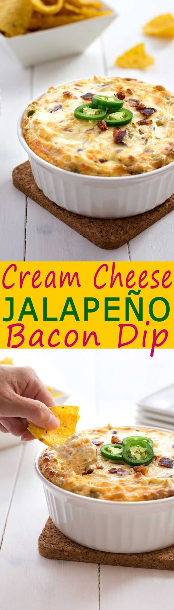 Jalapeño cream cheese dip loaded with green chiles, cheddar cheese and bacon! It…