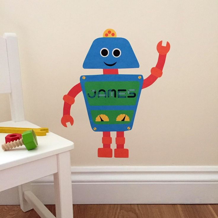 personalised robot wall sticker/ decal