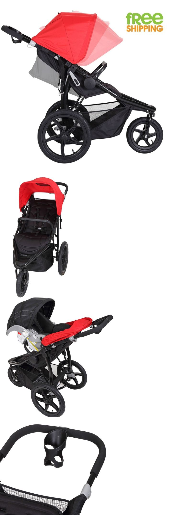 baby and kid stuff: 3 Wheel Jogging Stroller Black Red Baby Carriage Sport Pram Lightweight New! BUY IT NOW ONLY: $116.84
