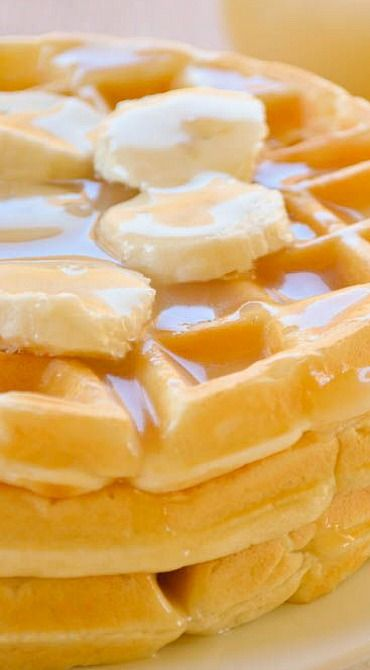Banana Cream Waffles with Homemade Vanilla Syrup