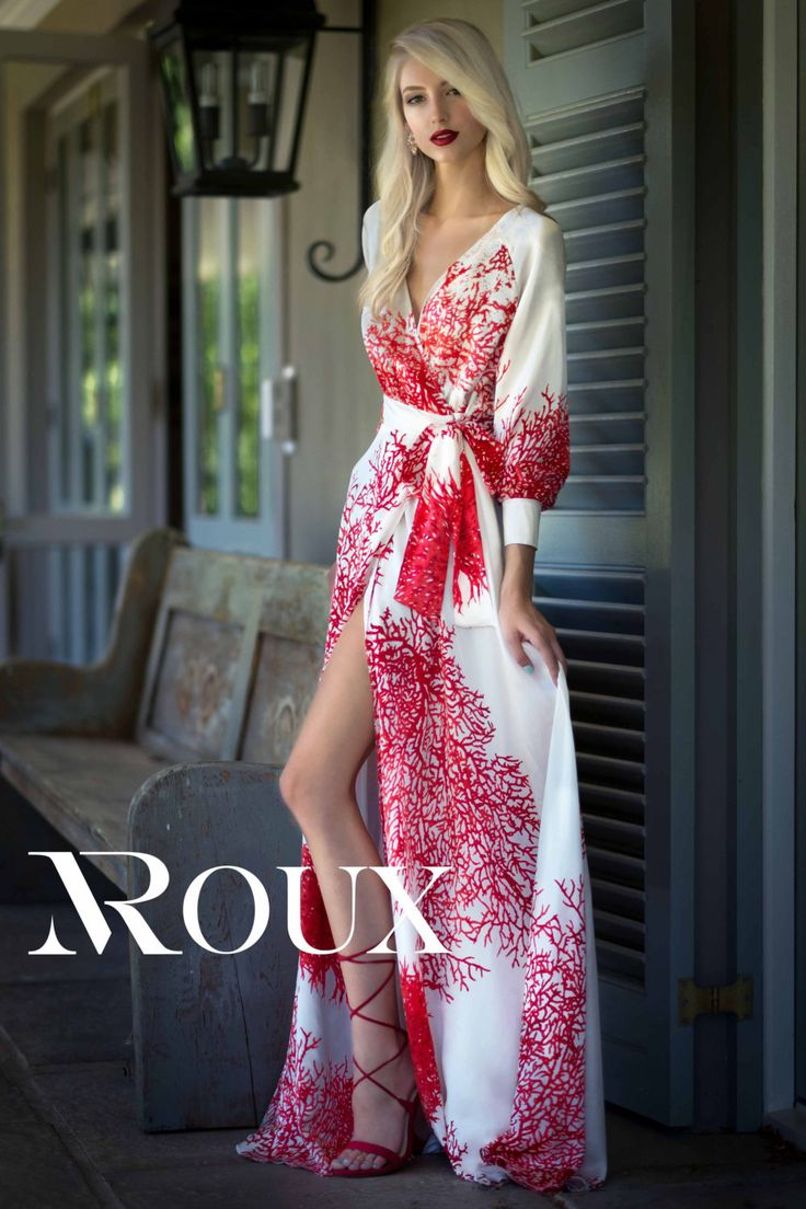 Satin silk coral wrap dress by ROUXWoman on Etsy This fabric is absolutely amazing and the design of the maxi dress suits it so well. The model looks stunning in this exclusive high-fashion design!
