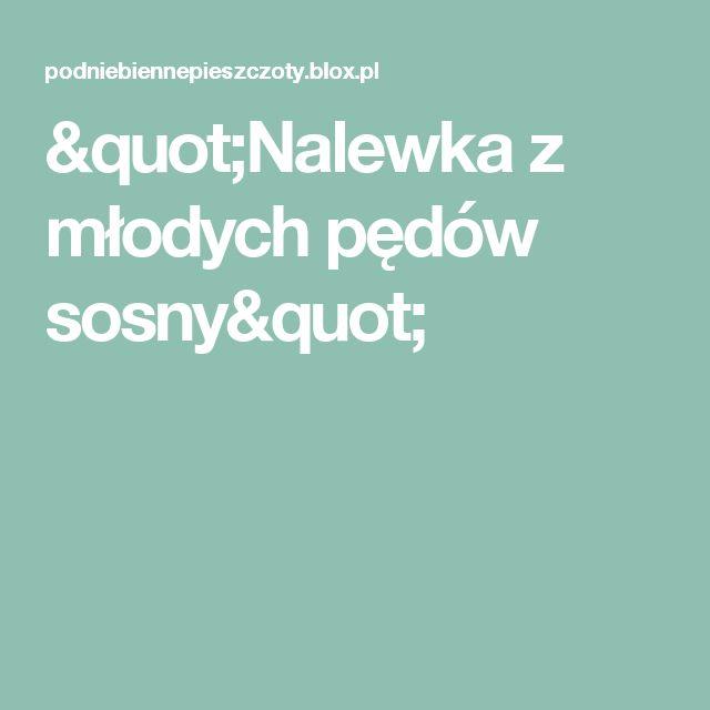 """""""Nalewka z młodych pędów sosny"""""""