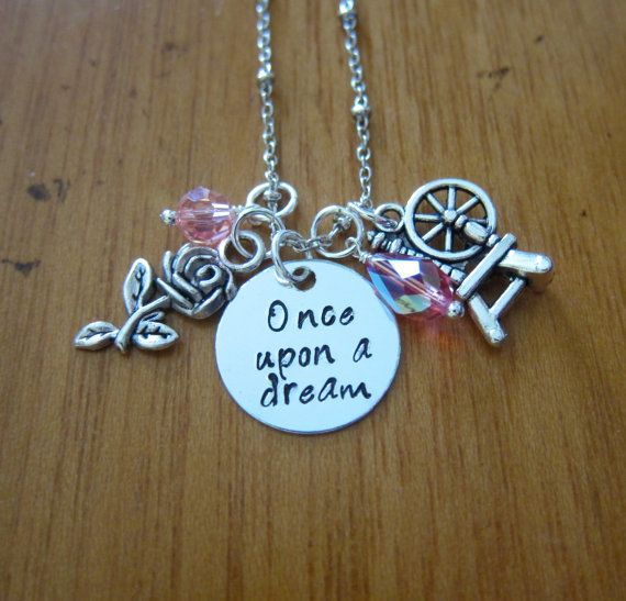 Disney's Sleeping Beauty Inspired Necklace. Once Upon A Dream. Princess Aurora. Silver colored, Swarovski crystals. Hand stamped. WithLoveFromOC, $21.00