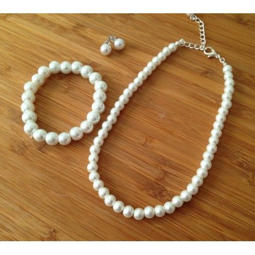 Bridesmaid Gift Jewelry - Pearl Strand Necklace, Bracelet & Stud Earrings Gift Set
