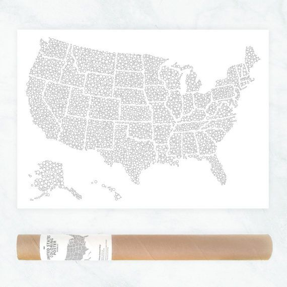 US map colouring poster US travel map sales map USA art print bubble colouring page map art patriotic wall art adults coloring page by AnnaGrundulsDesign