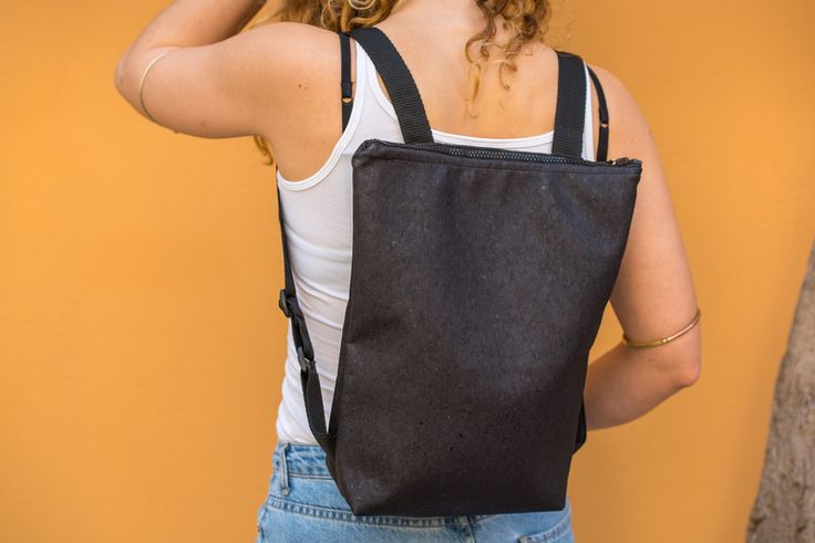 Backpacks – Black cork backpack with zip – a unique product by lovecuts on DaWanda