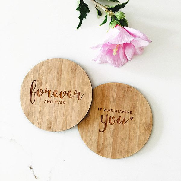 Filled With Sentiment These Engraved Wooden Coasters Add Style And Substance To Your Guests Home The Perfect Wedding Favour