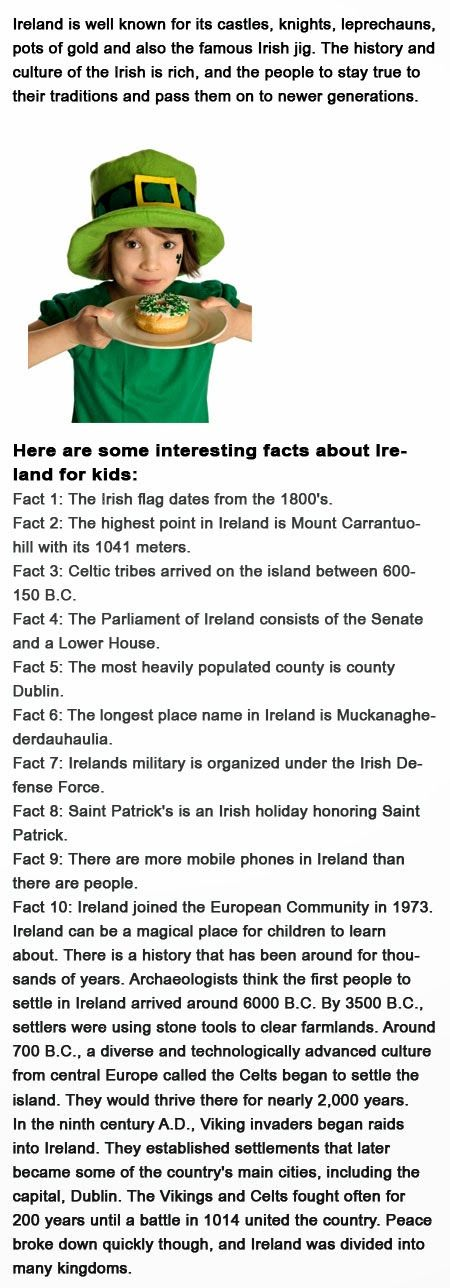 Childhood Education: Ireland Facts for kids
