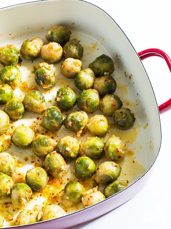 cooking the sprouts Boil in salted water 2 mins. Roast 20 mins, 1 lb Brussels sprouts 2 garlic cloves, minced ½ tsp cayenne pepper (opt) 4 tbsp olive oil Sprinkle w/2 tsp lemon jc, salt